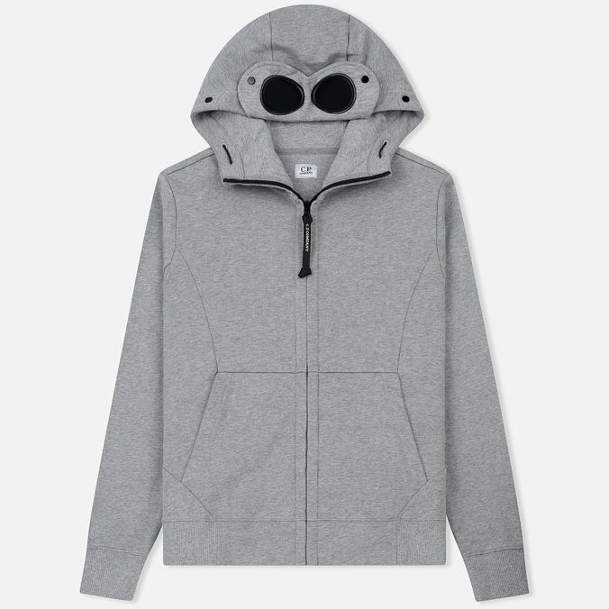 Мужская толстовка C.P. Company Diagonal Raised Fleece Goggle Full Zip Grey Melange