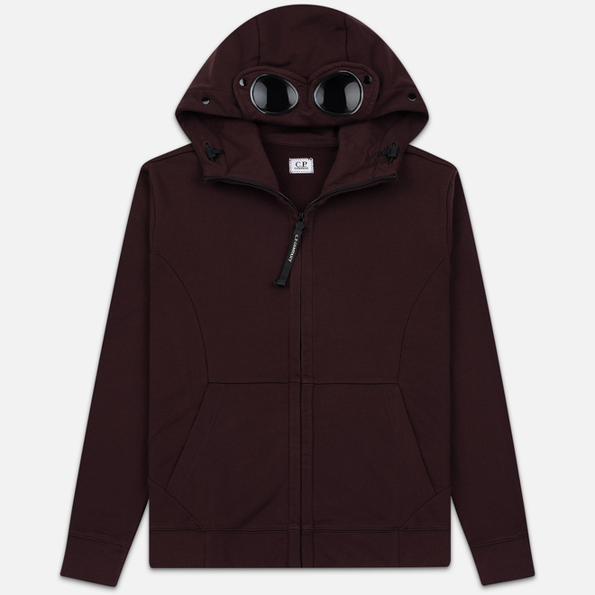Мужская толстовка C.P. Company Diagonal Raised Fleece Goggle Full Zip Hoodie Bitter Chocolate