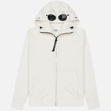 Мужская толстовка C.P. Company Diagonal Raised Fleece Goggle Full Zip Hoodie Gauze White фото- 0