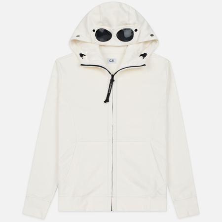 Мужская толстовка C.P. Company Diagonal Raised Fleece Goggle Full Zip Hoodie Gauze White