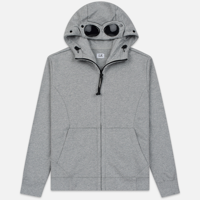 Мужская толстовка C.P. Company Diagonal Raised Fleece Goggle Full Zip Hoodie Grey Melange