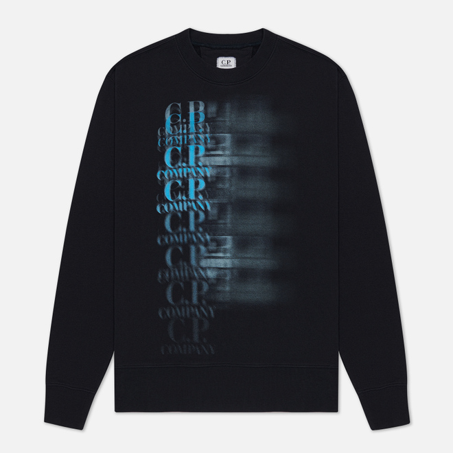 Мужская толстовка C.P. Company Fleece 30/1 Blur Logo Total Eclipse