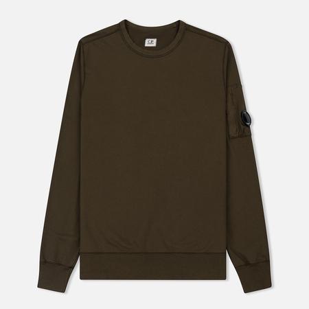 Мужская толстовка C.P. Company Garment Dyed Light Fleece Lens Crew Neck Dark Olive