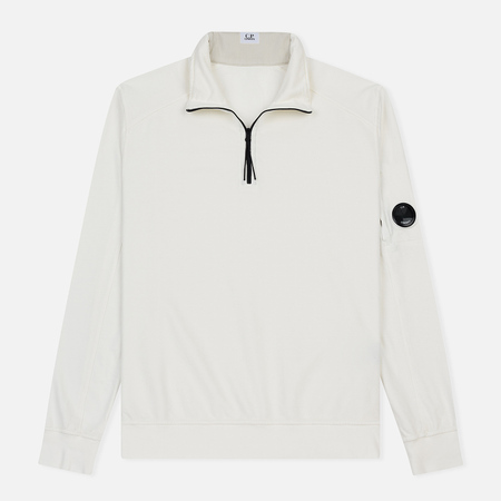 Мужская толстовка C.P. Company Garment Dyed Light Fleece Lens Zip Neck Gauze White