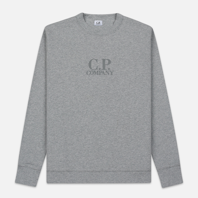 Мужская толстовка C.P. Company Heavyweight Logo Crew Neck Grey Melange