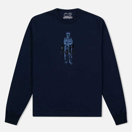 C.P. Company Logo Sailor Print Round Neck Men's Sweatshirt Navy