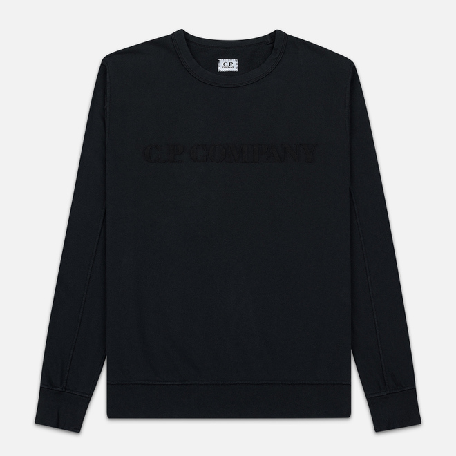 Мужская толстовка C.P. Company Straight Logo Crew Neck Black
