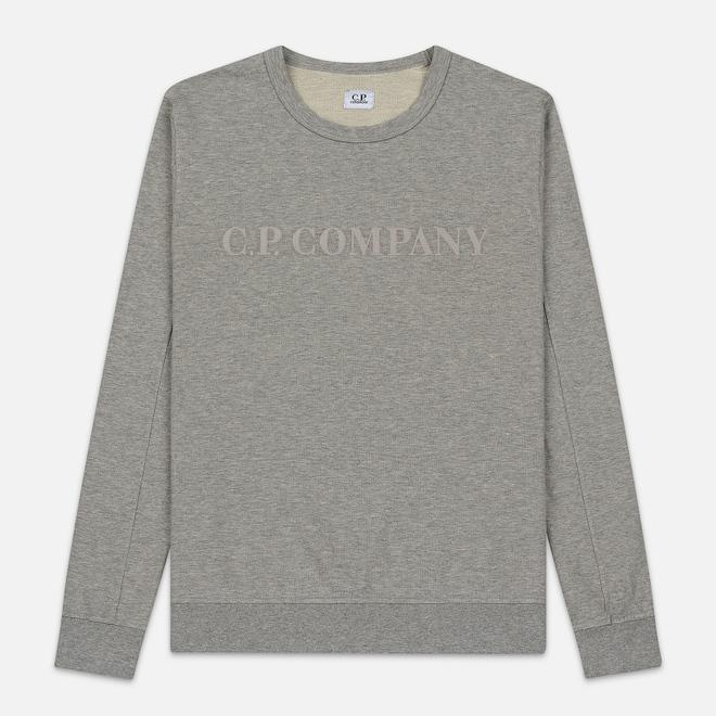 Мужская толстовка C.P. Company Straight Logo Crew Neck Grey Melange