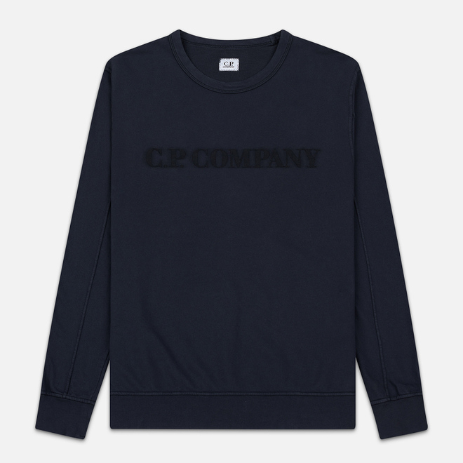 Мужская толстовка C.P. Company Straight Logo Crew Neck Total Eclipse