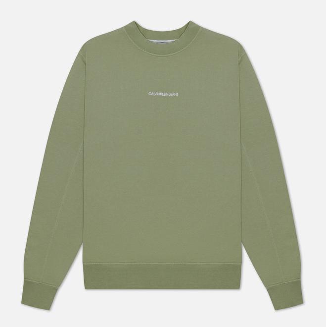 Мужская толстовка Calvin Klein Jeans Embroidered Logo Crew Sage Green