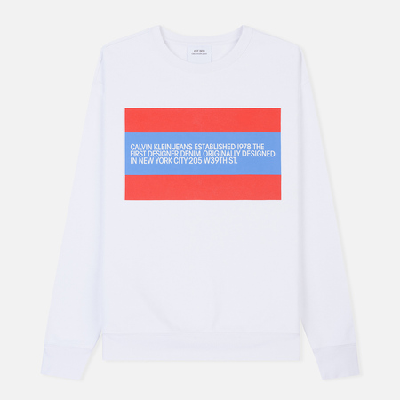 Мужская толстовка Calvin Klein Jeans Est. 1978 Est. 1978 Patch Crew Neck Bright White/Tomato/Regatta