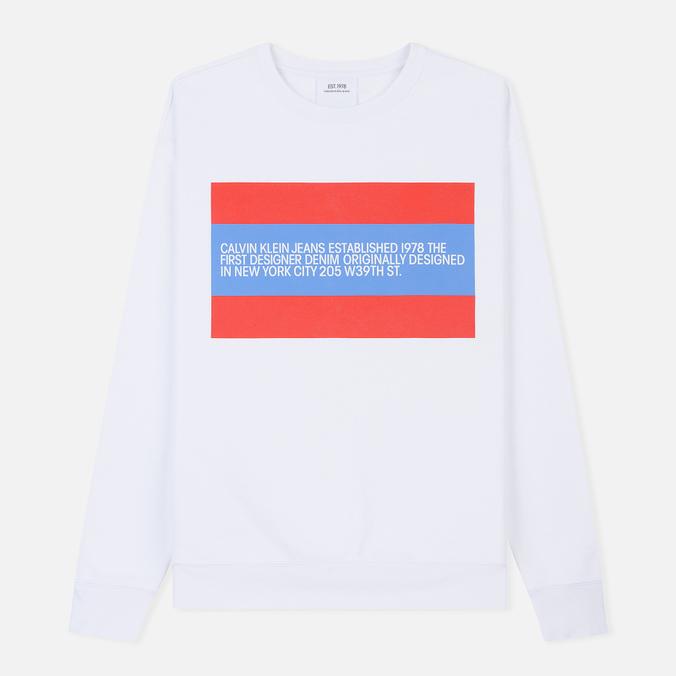 Мужская толстовка Calvin Klein Jeans Est. 1978 Est. 1978 Patch Crew Neck Bright White/Tomato/Regatta