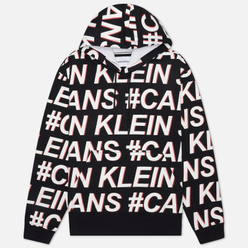 Мужская толстовка Calvin Klein Jeans Logo All Over Print Hoodie Black Exploded Hashtag