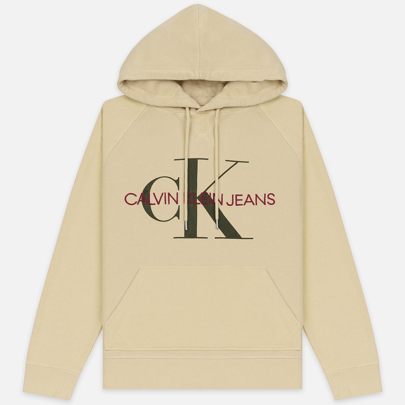 Мужская толстовка Calvin Klein Jeans Monogram Logo Hoodie Bleached Sand