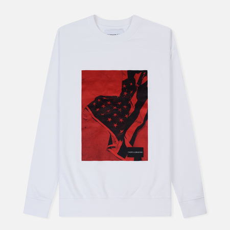 Мужская толстовка Calvin Klein Jeans USA Flag Printed Logo Bright White/Red
