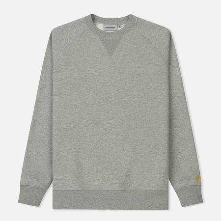 Мужская толстовка Carhartt WIP Chase Brushed 13 Oz Grey Heather/Gold