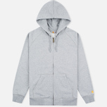 Мужская толстовка Carhartt WIP Chase Full Zip Grey Heather фото- 0
