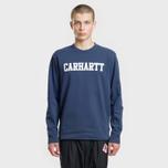 Мужская толстовка Carhartt WIP College 9.4 Oz Blue/White фото- 1