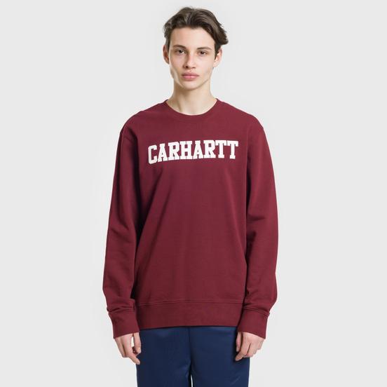 Мужская толстовка Carhartt WIP College 9.4 Oz Cranberry/White