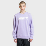 Мужская толстовка Carhartt WIP College 9.4 Oz Soft Lavender/White фото- 1