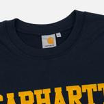 Мужская толстовка Carhartt WIP College Flock 9.1 Oz Navy/Quince фото- 1