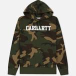 Мужская толстовка Carhartt WIP Hooded College 9.4 Oz Camo Laurel/White фото- 0