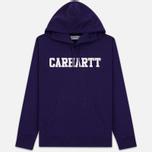 Мужская толстовка Carhartt WIP Hooded College 9.4 Oz Royal Violet/White фото- 0