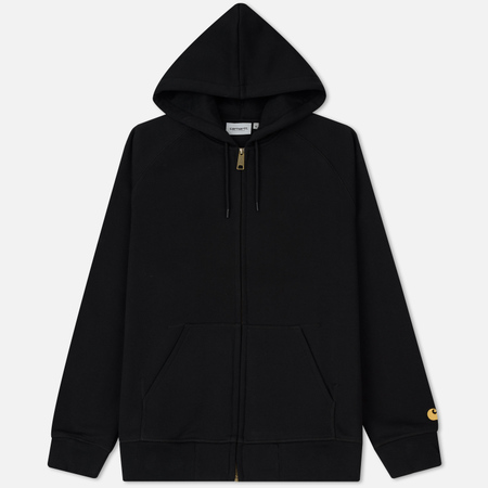 Мужская толстовка Carhartt WIP Hooded Full Zip Chase Brushed 13 Oz Black/Gold