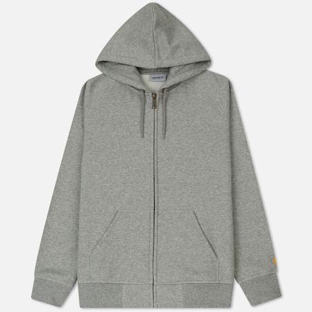 Мужская толстовка Carhartt WIP Hooded Full Zip Chase Brushed 13 Oz Grey Heather/Gold
