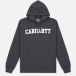 Мужская толстовка Carhartt WIP Kangaroo College Dark Grey Heather/White фото- 0