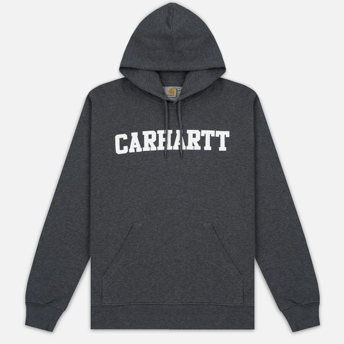 Мужская толстовка Carhartt WIP Kangaroo College Dark Grey Heather/White