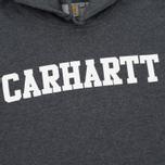 Мужская толстовка Carhartt WIP Kangaroo College Dark Grey Heather/White фото- 2