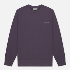 Мужская толстовка Carhartt WIP Script Embroidery 13 Oz Decent Purple/White