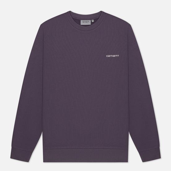 Мужская толстовка Carhartt WIP Script Embroidery 13 Oz Decent Purple/White