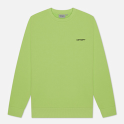 Мужская толстовка Carhartt WIP Script Embroidery 13 Oz Lime/Black