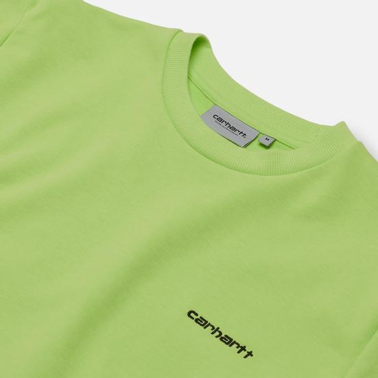 Мужская толстовка Carhartt WIP Script Embroidery 13 Oz Lime/Black