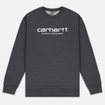 Мужская толстовка Carhartt WIP Wip Script 9.4 Oz Dark Grey Heather/White фото- 0