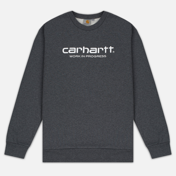 Мужская толстовка Carhartt WIP Wip Script 9.4 Oz Dark Grey Heather/White