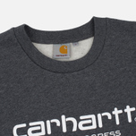 Мужская толстовка Carhartt WIP Wip Script 9.4 Oz Dark Grey Heather/White фото- 2