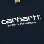 Мужская толстовка Carhartt WIP Wip Script 9.4 Oz Navy/White фото- 2