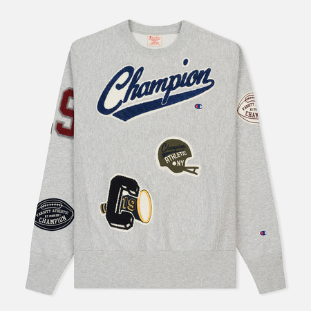 Мужская толстовка Champion Reverse Weave All Over Applique Patch Crew Neck Heather Grey