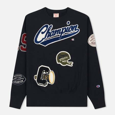 Мужская толстовка Champion Reverse Weave All Over Applique Patch Crew Neck Navy
