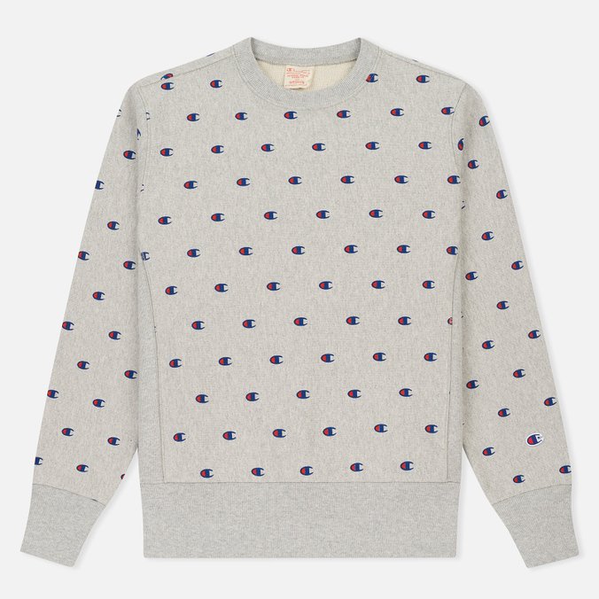 Мужская толстовка Champion Reverse Weave All Over Embroidered Crew Neck Grey