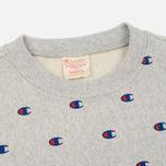 Мужская толстовка Champion Reverse Weave All Over Embroidered Crew Neck Grey фото- 1