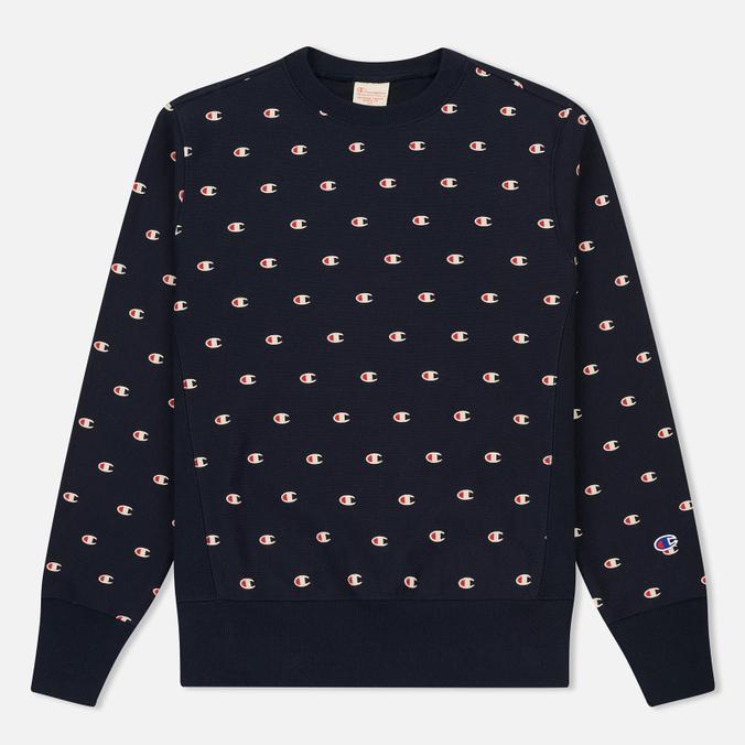 Мужская толстовка Champion Reverse Weave All Over Embroidered Crew Neck Navy