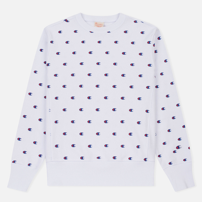 Мужская толстовка Champion Reverse Weave All Over Embroidered Crew Neck White