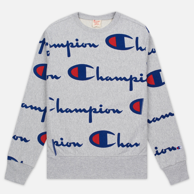 Мужская толстовка Champion Reverse Weave All Over Print Crew Neck Grey