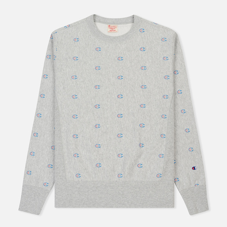 Мужская толстовка Champion Reverse Weave All Over Print Crew Neck Heather Grey