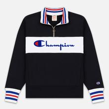 Мужская толстовка Champion Reverse Weave Big Script Block Half Zip Black/White фото- 0