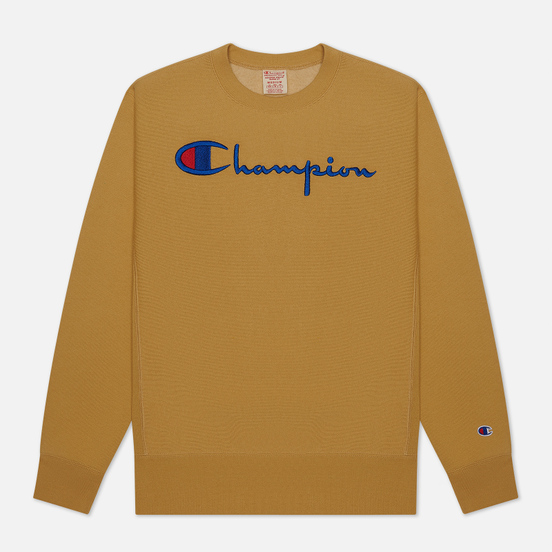 Мужская толстовка Champion Reverse Weave Big Script Crew Neck Beige